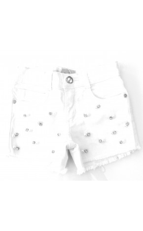 Short Sarja Branco Bordados 20060 - Pituchinhus